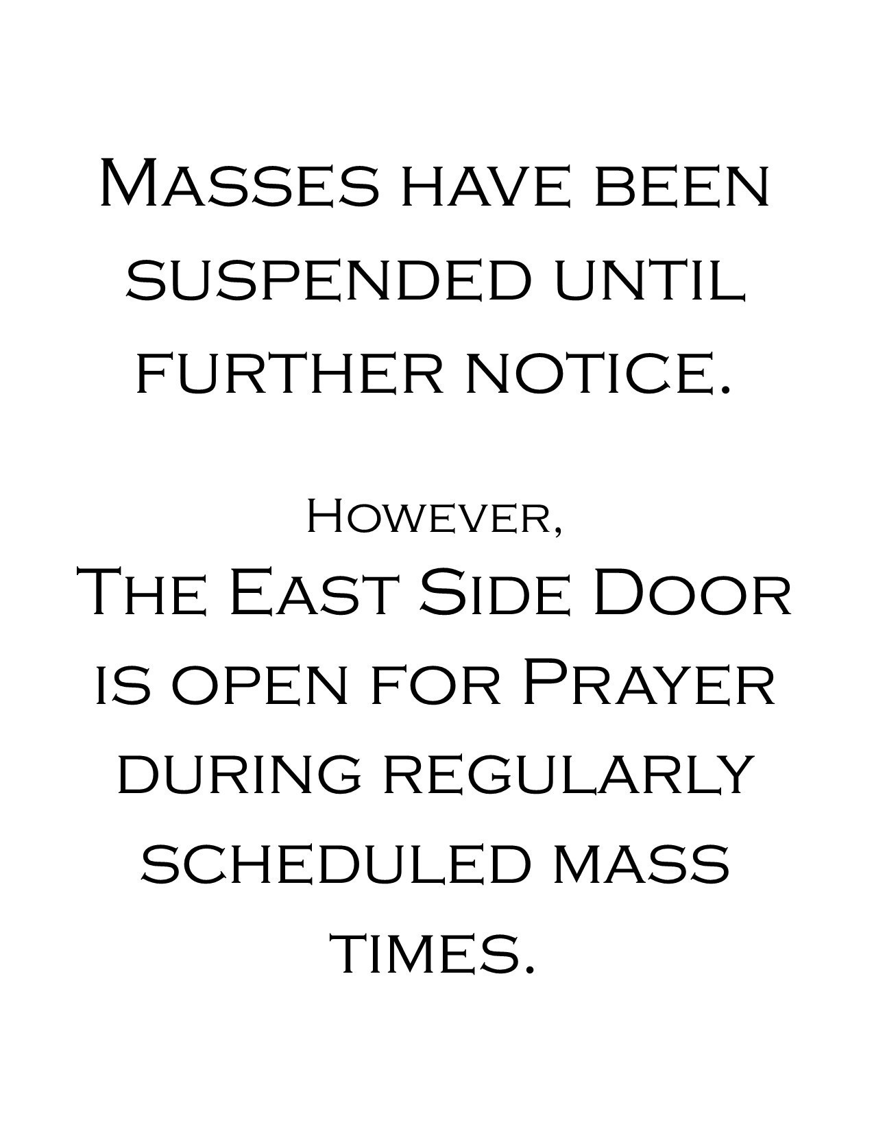 Masses Suspended